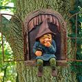 Garden Sculptures & Statues Gnomes Garden Ornaments, Fairy Garden Ornaments Outdoor Elf Out The Door Tree Hugger Garden Statues , Whimsical Garden Statues & Sculptures Outdoor Decor (Gnome-Girl)