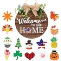 WANTALL Wooden Seasonal Welcome Door Sign Interchangeable Welcome Sign Welcome to Our Home, Pattern with 14 Seasonal Ornament Wood Hanging Front Round Door Sign for Easter Memor
