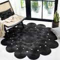 Safavieh Natural Fiber Round Collection NF363D Handmade Boho Charm Farmhouse Jute Area Rug, 3' x 3' Round, Black