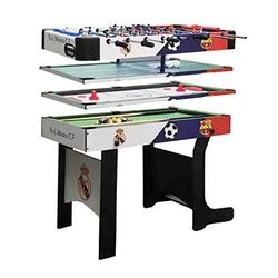 ZXQZ 4FT 4 in 1 Sports Game Table, Folding Combo Table, Pool Snooker Table, Air Hockey Table,Table Tennis Table, Football Table Billiard Tables (Color : Through Rod)