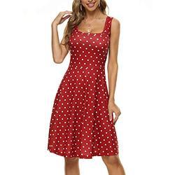 FENSACE Cute Dress Casual Dresses for Women Polka Dot Dress for Women Summer Dress(Large,White Polka Dot)
