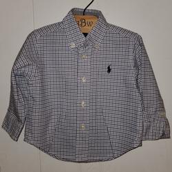 Ralph Lauren Shirts & Tops   Rl Plaid Cotton Poplin Shirt   Color: Blue/White   Size: 9mb