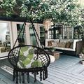 Dakota Fields Indoor/Outdoor Cotton Hammock Chair & Swing Chair For Patio Garden Backyard Living Room in Black/Brown/Gray   Wayfair