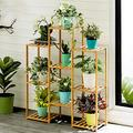 NANDIYNZHI Multi-Tier Bamboo Plant Stand, Planter Rack Flower Pots Holder Display Indoors Outdoors Decoration Bamboo Plant Stand Planter Rack Flower Pots Holder 32.7x39.4x9.8inch[US Stock] (Yellow)