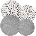 Potholders Set Trivets Set of 4[Two 9-Inch+Two 7-Inch]   100% Eco Pure Cotton Thread Weave Trivets for Hot Pots and Pans   Hot Coasters   Hot Pads for Kitchen   Hot Mats   Gray + White & Black Flakes