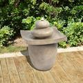 "Ebern Designs Sheeley Resin Stone Fountain LED Light, Resin in Gray, Size 24""H X 18""W X 18""D 