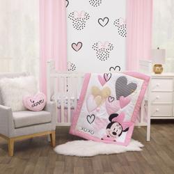 Disney Bedding   Disney Minnie Mouse Hearts 3-Pc Crib Set   Color: Pink/White   Size: Standard Crib