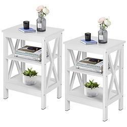 VECELO Side/End Storage with Shelf Versatile Nightstands Lamp Table Living Room Bedroom Furniture, Shelves, White/Set of 2
