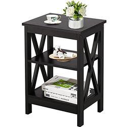 VECELO Side/End Storage with Shelf Versatile Nightstands Lamp Table Living Room Bedroom Furniture, Shelves, Black