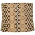 Copper Circles Grey Drum Lamp Shade Modern Tan Fabric 13x14x11 - Spider Torch lamp shade replacement Floor lamp replacement glass shade Floor lamp cover Mini lamp shades for chandeliers