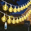 Solar String Lights Outdoor Waterproof, 30.2FT 60 LED Crystal Globe Fairy Lights Solar Powered& USB Plug-in Powered with 8 Lighting Modes for Indoor Outdoor Party Home Backyard Wedding (Warm White)