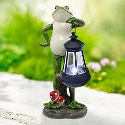 Nacome Solar Garden Statue of Frog Figurine with Solar Lantern-Outdoor Lawn Decor Garden Frog Ornament for Patio,Balcony,Yard, Lawn-Unique Housewarming Gift,12inch