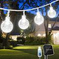 White Solar String Lights Outdoor , 22.3FT 40 LED Crystal Ball Twinkle Lights Solar Powered& USB Plug-in Powered with 8 Lighting Modes for Indoor Outdoor Party Garden Backyard Wedding (White)