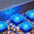 Solar Ice Cube Lights - Solar Brick Light LED Landscape Light Crystal Brick Light Outdoor Path Lights Waterproof for Outdoor Garden Patio Yard Lawn Pool Decoration (Blue, 4pcs)