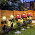 Solar Light - Chrysanthemum Solar Light Outdoor Waterproof Artificial Flowers Solar Lights Garden Decoration Lamp Solar Powered with Metal Pole for Garden Yard