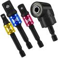 """3Pcs 1/4"""" 3/8"""" 1/2"""" Hex Shank Bit Square Power Drill Cordless Impact Sockets Bit Set With Color Coded Ring,105 Degree Right Angle Screwdriver Set,Right Angle Drill Attachment,Angle Drill Adapter"""