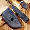 Hacreyatu Key Fob Cover Case Remote Holder Skin Protector for BMW New 1 3 5 7 Series X1 X2 X3 X4 X5 X6 523li 525li 528li 530 320li 118i 3 Buttons Leather Key Chain (Blue)