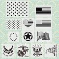 """12 Pcs Large Painting Stencil Template, 14"""" American Flag 50/13 Star U.S Flag American Heart U.S Army Pattern for Painting on Wood Wall Glass Stone Fabric Flag Clothes Graffiti DIY Wall Art Crafts"""