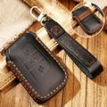 Hacreyatu Key Fob Cover Case for VW Magotan New CC New P-a-ssat B8 Variant 3 Buttons Leather Key Chain (Black)