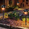 BVSDF Flickering Light, 4pcs Solar Small Hexagon Flame Light Waterproof Landscape Garden Pathway Light with Vivid Dancing Flickering Flames for Garden Park Party Christmas Decoration