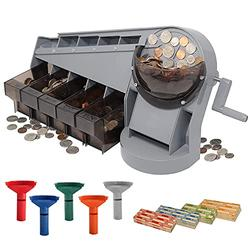 Nadex Anti-Jam Hand Crank Coin Sorter and Wrapper | Sort up to 350 Coins Per Minute Into Bins | Sorting Tubes and 272 Coin Wrappers Included | Sorts All U.S Coins Wet or Dry