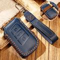 Hacreyatu Key Fob Cover Case for VW Magotan New CC New P-a-ssat B8 Variant 3 Buttons Leather Key Chain (Blue)