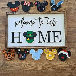 Welcome to Our Home Sign with Interchangeable Holiday Mickey, Mi-ckeys Welcome to Our Home Interchangeable Icons Sign, Door Hanger Sign DIY Sweet Home for Decoration