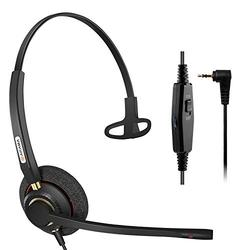 Arama Phone Headset with Noise Cancelling Microphone, 2.5mm Telephone Headset for Cordless Phones Panasonic AT&T Vtech Uniden Cisco SPA Grandstream Polycom Clarity XLC3.4 Office IP (A800CP) (Renewed)