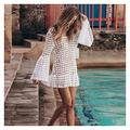 Swimsuits Cover Up Women Swimsuit Cover-up Beach Bathing Suit Beach Wear Knitting Swimwear Mesh Beach Dress Tunic Robe Ladies Swimsuits (Color : Y8420W13, Size : One Size)