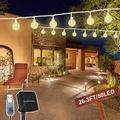 Solar String Lights Outdoor Waterproof, 26.3FT 50 LED Crystal Globe Fairy Lights Solar Powered& USB Plug-in Powered with 8 Lighting Modes for Indoor Outside Party Garden Backyard Wedding (Warm White)