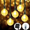 Solar String Lights Outdoor Waterproof, 26.3 FT 50 LED Crystal Ball Fairy Lights Solar Powered& USB Plug-in Powered with 8 Lighting Modes for Party Garden Backyard Wedding (50 LED, Warm White)