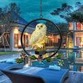 Solar Owl Iron Hanging Lamp, Owl Garden Lights Solar Powered, Waterproof Cute Resin Owl Solar Led Light Hanging Solar Lights for Garden Patio Yard Pathway Decoration