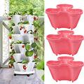 Stand Stacking Planters Strawberry Planting Pots Herb Planter Box Vertical Gardening Indoor/Outdoor Stacking Garden Pots Premium Planter Flower Plant Pot with Tray ( Color : 3 Planters , Size : Pink )