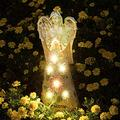 JUJUN Praying Angel Garden Figurine, Solar Garden Sculpture with 7 LEDs Welcome Sign Resin Praying Angel Art Garden Decor for Patio Lawn Yard Porch Decoration, Housewarming Garden Gift