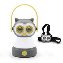 Outdoor Equipment LED Camping Lantern & Headlamp Set for Kids, FANT.LUX Battery Powered Night Light for Emergency, Hurricane, Lightweight Tent Lamp - Owl