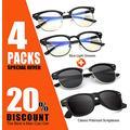 Semi-Rimless Frame Polarized Sunglasses and Retro Semi Rimless Blue Light Blocking Glasses