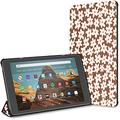 Kindle Case Pu Leather Smart Cover Brown Compact Fun Daisy Flowers Repeat Case for Kindle Fire Hd 10 Kindle Fire Hd 10 Inch Tablet Case(9th Gen 2019/7th Gen 2017) with Auto Wake/Sleep