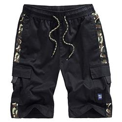 VtuAOL Men's Casual Cargo Shorts Elastic Waist Relaxed Fit Shorts with Drawstring Black Asian XL/US 32