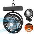 TAECCL Camping Fan Desk Fan Wall Fan Portable Mini Fan: 5000mAh Battery USB Rechargeable Fan Tent Fan with LED Lantern & Hanging Hook Personal Fan for Camping Home Office