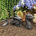 Large Dragon Gothic Garden Decor Statue - The Dragon of Falkenberg Castle Moat Lawn Garden Statue, Funny Outdoor Figurine, Yard Art, Resistant Statue for Garden, Garden Sculptures & Statues (A)
