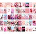 Bligli Wall Collage Kit Aesthetic Pictures, 50 set 4x6 inch, Bedroom Decor for Teen Girls, VSCO Posters for Bedroom,Wall Art Prints for Room, Dorm Photo Display (Pink)
