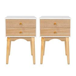 Scurrty Nightstands Set of 2 White Bedside Table Sofa End Tables with 2 Storage Drawers Night Stands for Bedrooms Small Bedside Night Table for Small Spaces Living Room Furniture (OWN-2)