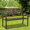 Patio Bench Garden Bench Outdoor Porch Metal Bench Chair with Steel Frame Patio Park Bench Furniture 480 LBS Outdoor Bench for 2 Person, Black
