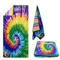 Microfiber Quick Dry Beach Towel with Zipper Pocket, Super Soft Two Sides Printing Travel Pool Towel, Personalized Sand Free Beach Towels for Womens Mens (tie dye)