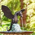 Water Spray Dragon Garden Fountain and Water Features for The Garden Gothic Dragon Statue Sculpture Resin Waterscape for Garden Fountain Ornaments Accessories Outdoor Yard Decoration (A)
