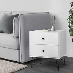Scurrty Nightstands Set of 1 White Bedside Table Sofa End Tables with 2 Storage Drawers Night Stands for Bedrooms Metal Legs Small Bedside Night Table for Small Spaces Living Room Furniture (MN-1)
