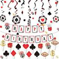 timecity Casino Birthday Party Foil Hanging Swirls Decorations Kit Game Night Red Black Poker Happy Birthday Party Banner for Las Vegas Poker Card Casino Night Party Decoration Supplies