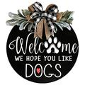 Welcome Sign for Front Door, Welcome Front Door Round Acrylic Sign Hanging Welcome Sign for Farmhouse Porch Spring Welcome Sign Front Door Decoration (Blackboard Welcome)