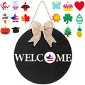 Wooden Seasonal Welcome Door Sign, Round Wood Front Door Sign Interchangeable Welcome Wood Sign Wooden Hanging Welcome Sign with Burlap Bow, 16 Piece Seasonal Ornament for Farmhouse Decoration (Black)