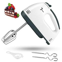 Hand Mixer Electric, 7-Speed Lightweight Handheld Electric Mixer, Powerful Kitchen Mixer Stainless Steel Egg Whisk with Egg White Separator, 2 Dough Hooks and 2 Beaters for Baking, Cakes & Cooking